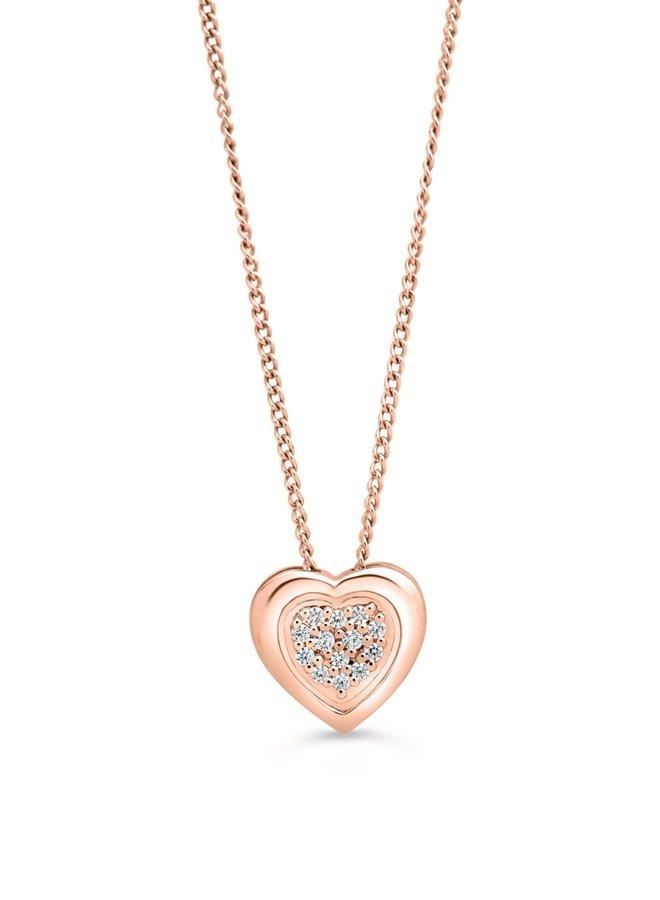 Chaine pendentif 10k rose coeur diamant 13=0.05ct I GH