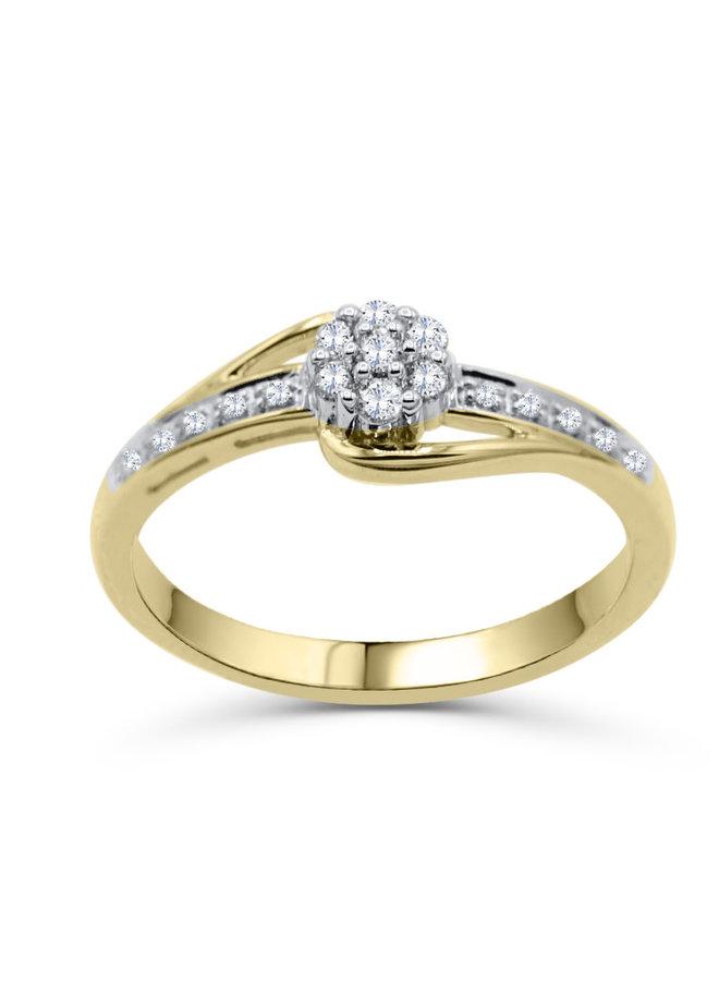 Bague 14k jaune coussin de diamant  17=0.18ct I GH