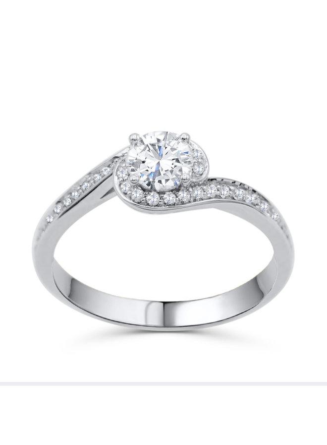Bague 18k diamant 1x0.53ct canadien Si1 F 36=0.18ct