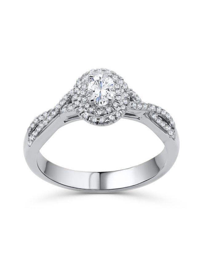 Bague 10k blanc diamant ovale 0.24ct  72=0.27ct I GH