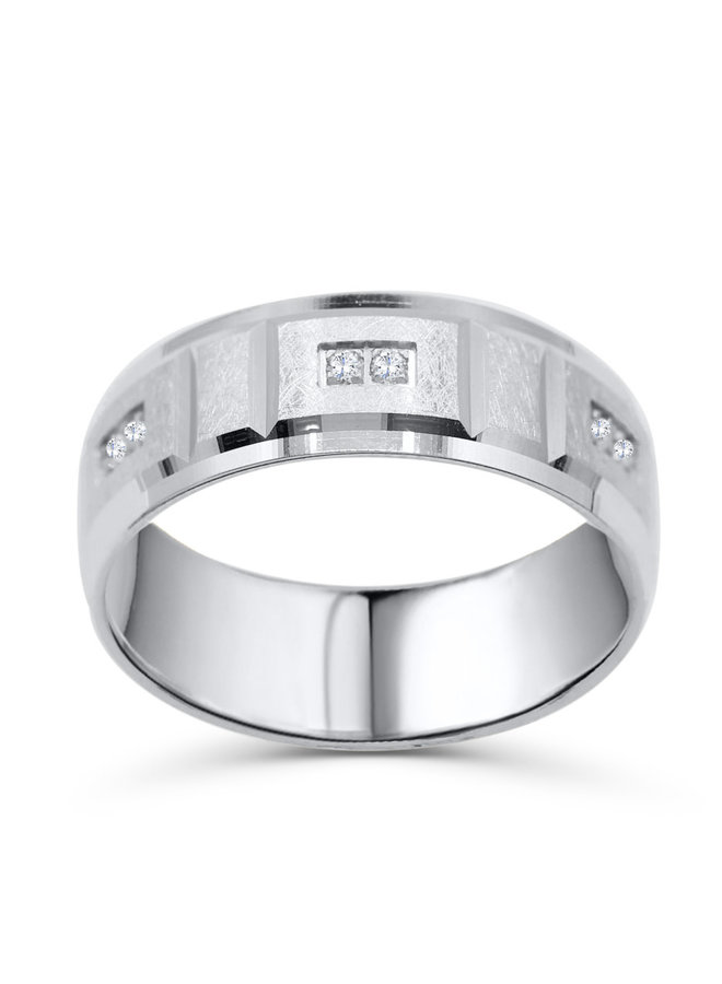 Jonc 10k blanc diamant 6=0.09ct 8mm
