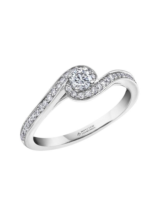 Bague 14k blanc diamant canadien 1x0.19ct 38=0.20ct SI GH