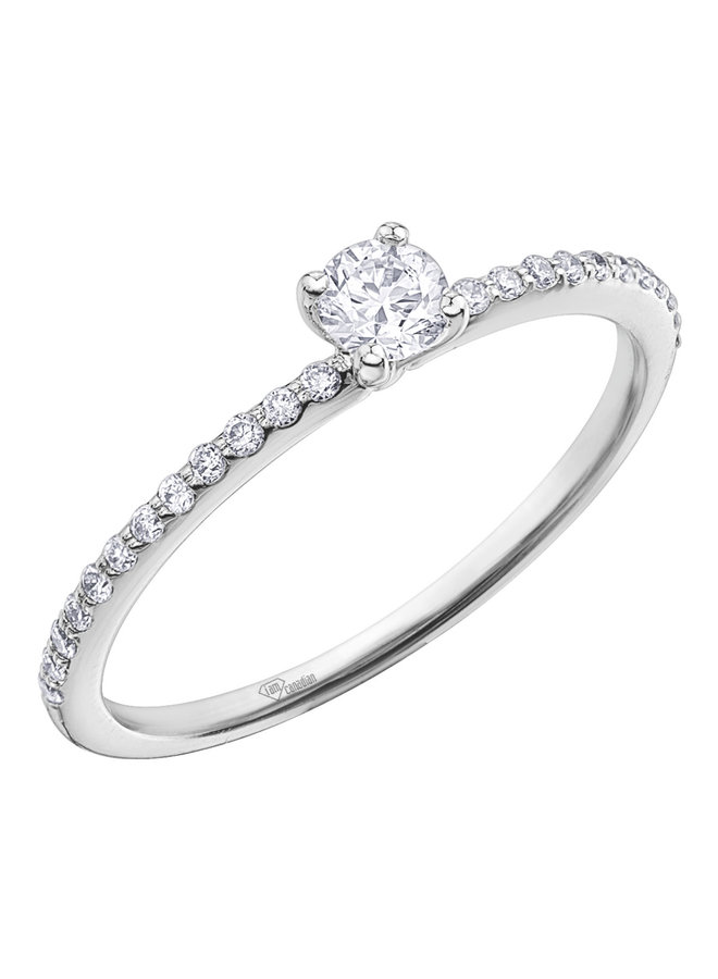 Bague 10k diamant canadien 1x0.19 12x0.005ct I GH