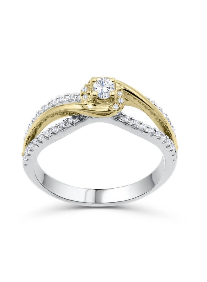 Bague 14k 2 tons style croisé diamant 1X0.15 22X0.005CT I GH