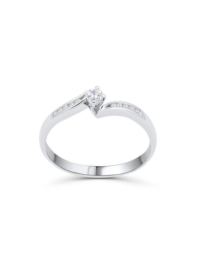 Bague 10k Diamant  10=0,08ct I GH
