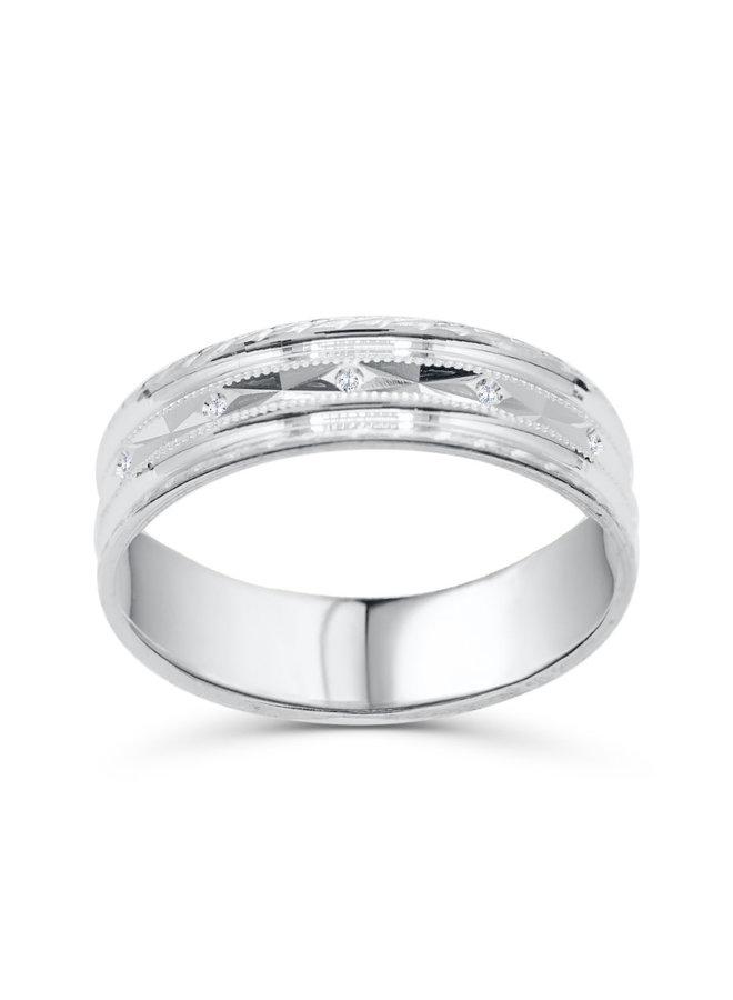 Jonc 10k blanc coupe diamant 5mm