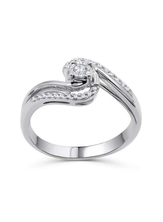 Bague 10k blanc diamant 0.15ct I GH