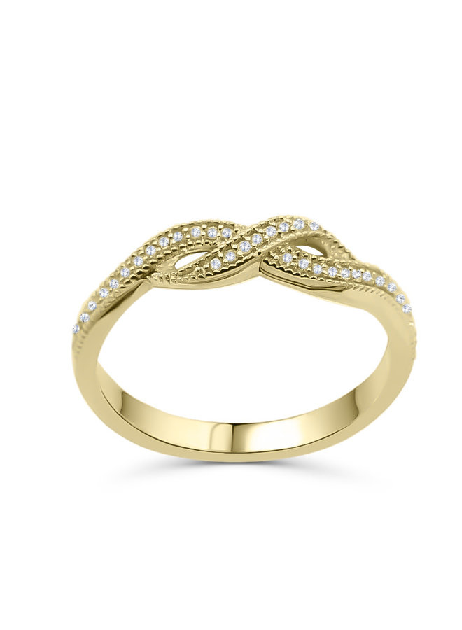 Bague 10k jaune style infini diamant 0.10ct I GH
