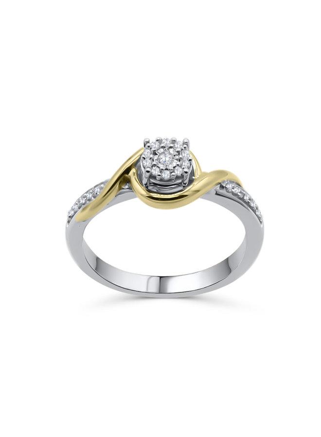Bague 10k 2 tons diamant 0.15ct I GH