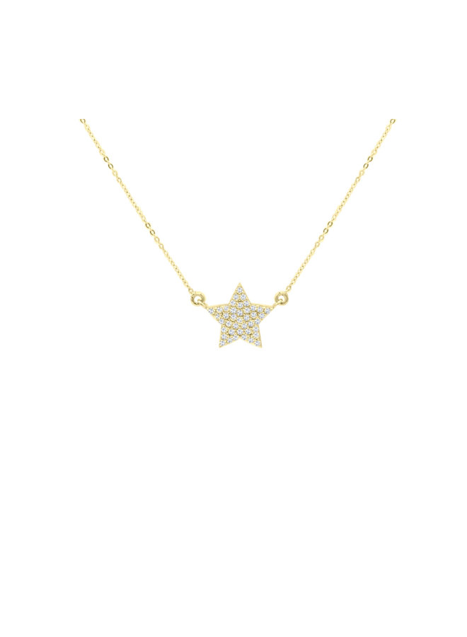 Chaine pendentif 10k zircon étoile
