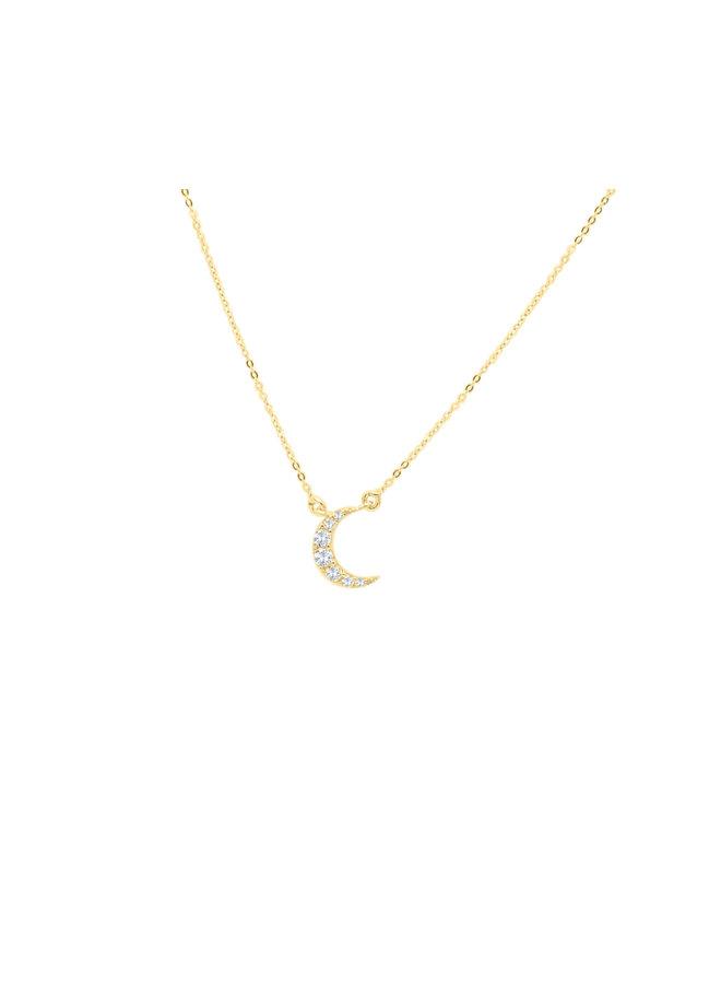 Chaine pendentif 10k jaune zircon Lune