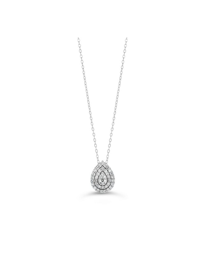 Chaine pendentif forme poire 10k diamant 41=0.10ct I GH