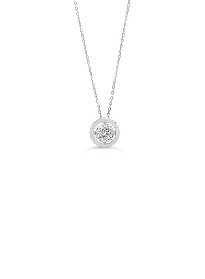 Chaine pendentif 10k rond diamant 9=0.05ct I GH