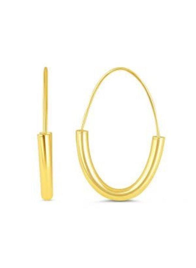 Boucle d'oreille anneau ovale 10k jaune