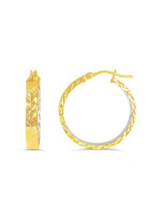 Boucle d'oreille anneau coupe diamant 10k 2 tons 24mm