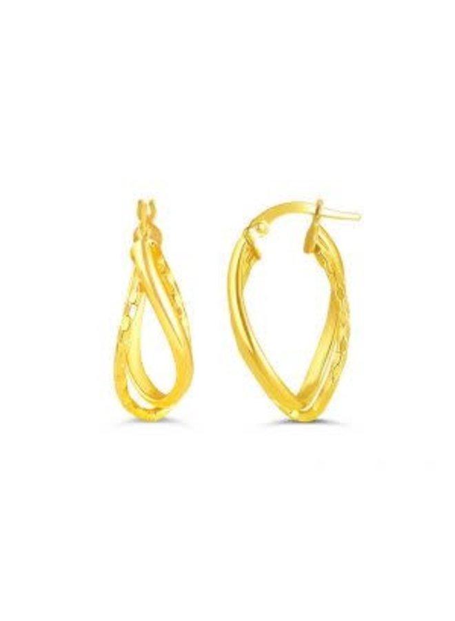 Boucle d'oreille anneau 10k jaune ovale motif