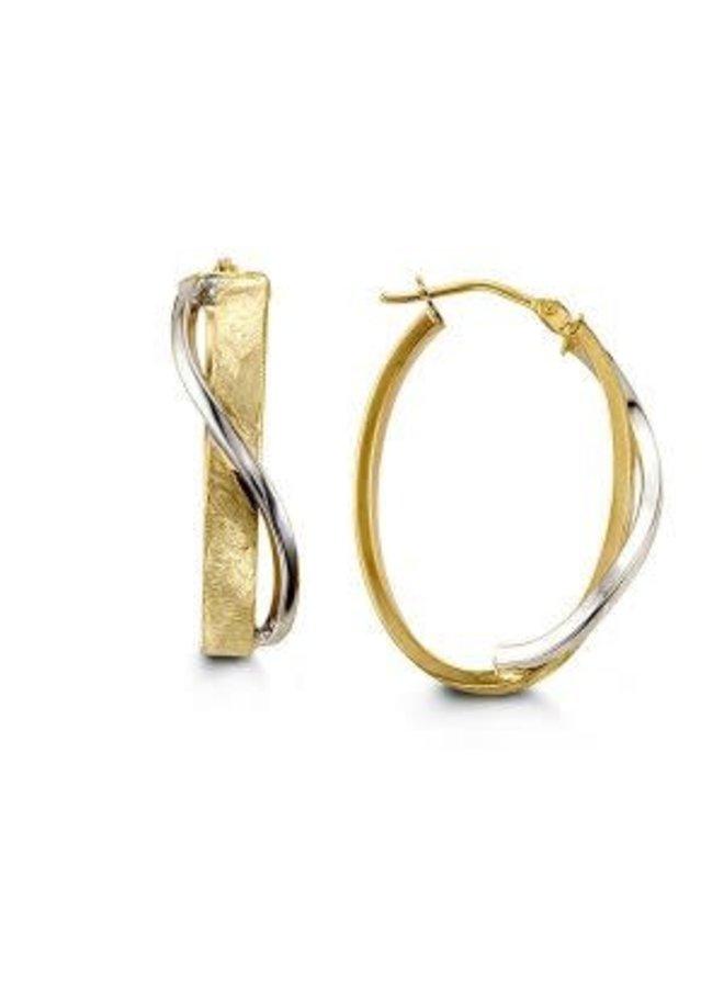 Boucle d'oreille 10k anneau ovale 20x30mm 2 tons
