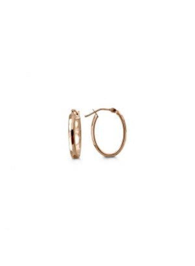 Boucle d'oreille 10k rose ovale 14x18mm