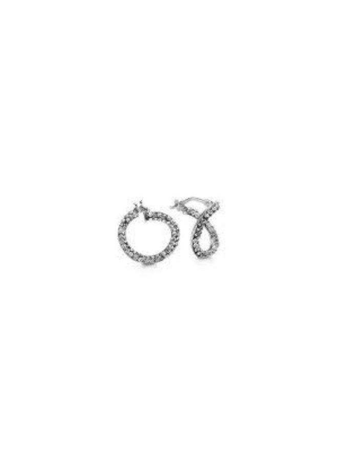 Boucle d'oreille 10k blanc zircon anneau