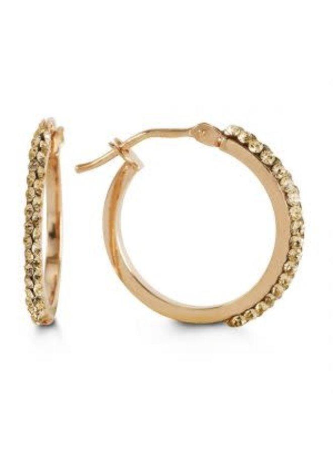 Boucle d'oreille anneau 10k rose avec zircon