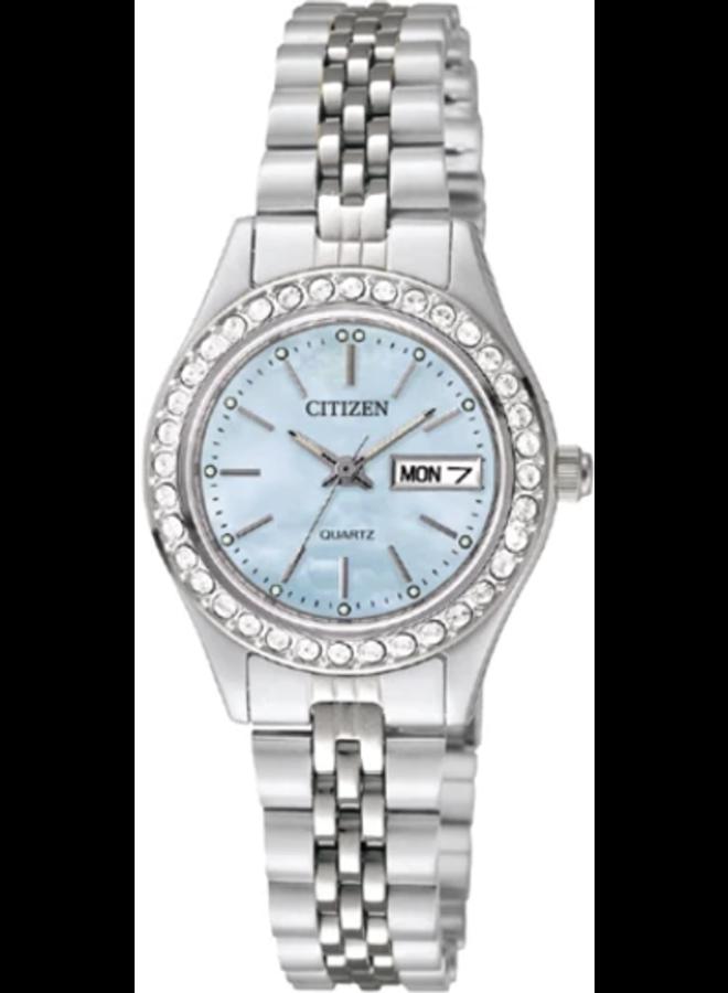 Citizen quartz acier fond nacre et cristaux 26mm
