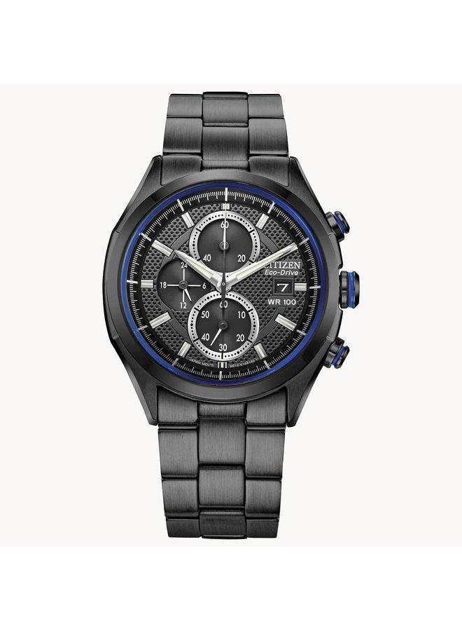 Citizen Eco-drive chronographe acier noir fond noir 41mm
