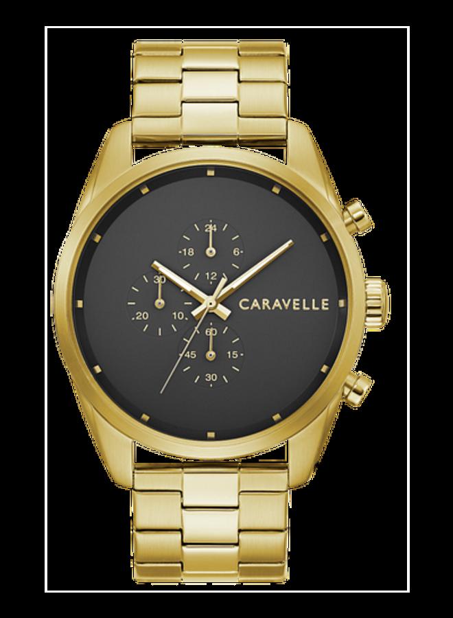 Caravelle acier doré chronographe fond noir 44mm
