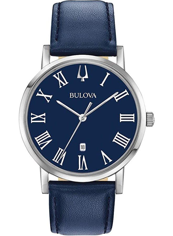 Bulova acier fond bleu cuir bleu 40mm