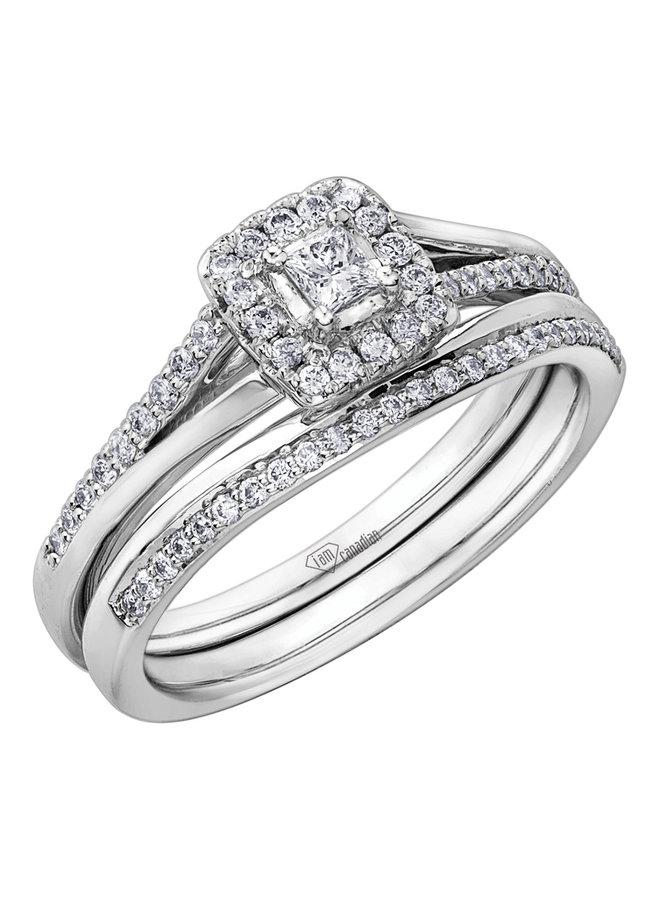 Bague 10k  diamant canadien 1x0.085ct 34=0.22ct Si GH