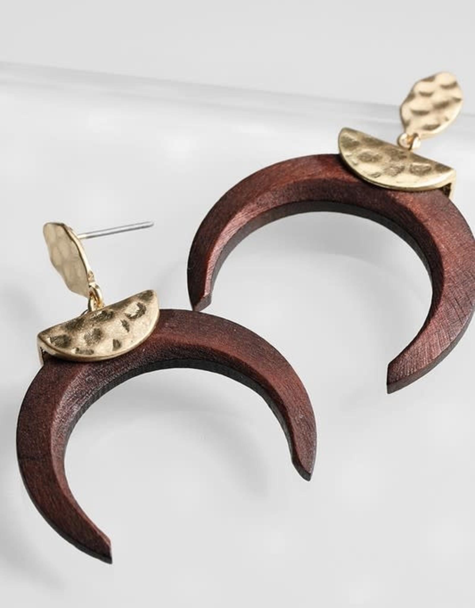Wood Crescent Dangle Earrings