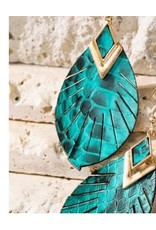 Feather Shape with Genuine Snake Leather Dangle Hook Earrings