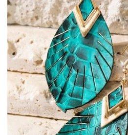 Snake Leather Dangle  Earrings