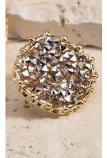Round Glitter Stone Post Earrings