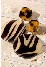 Animal Printed Resin Dangle Post Earrings