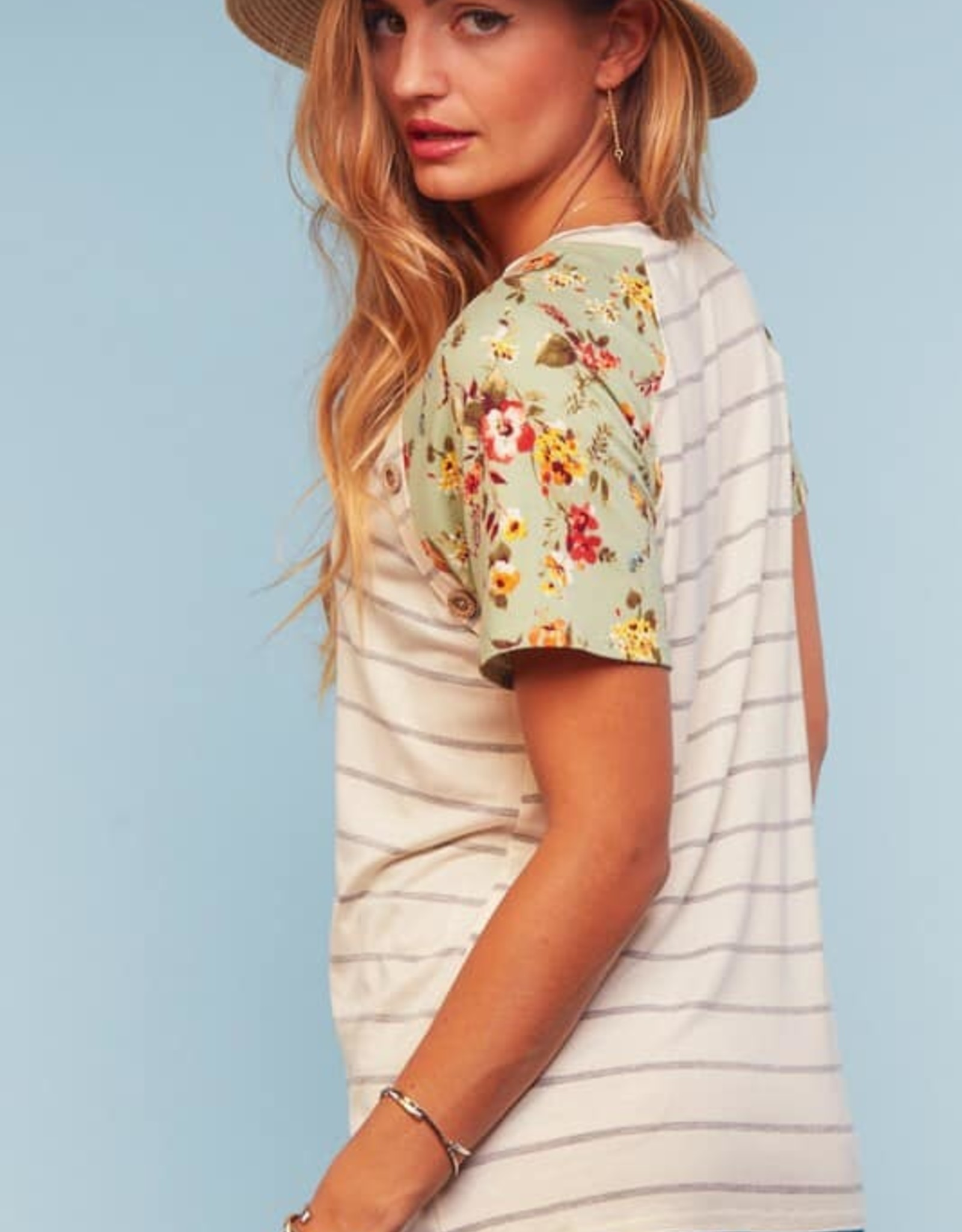 Floral Print Short Sleeve Top with Button Detail
