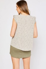 Abstract Print Ruffled Cap Sleeve Top