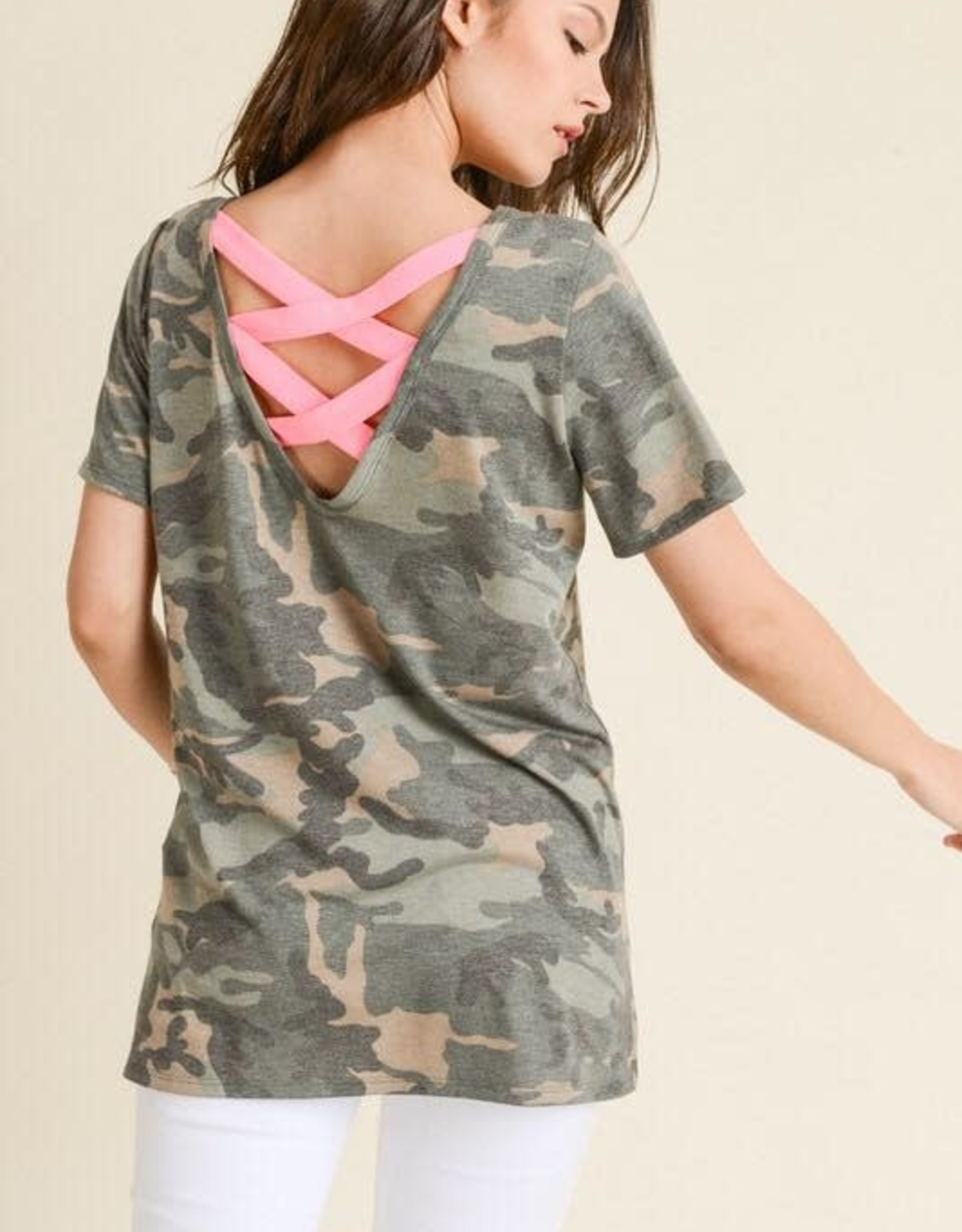 Camo Top with Strappy Contrast Back