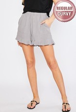 Ruffle detail linen shorts