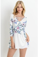 3/4 Sleeves Floral Print Top with Cross Neck Detailed
