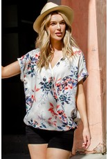 Floral Woven Print Twisted Top