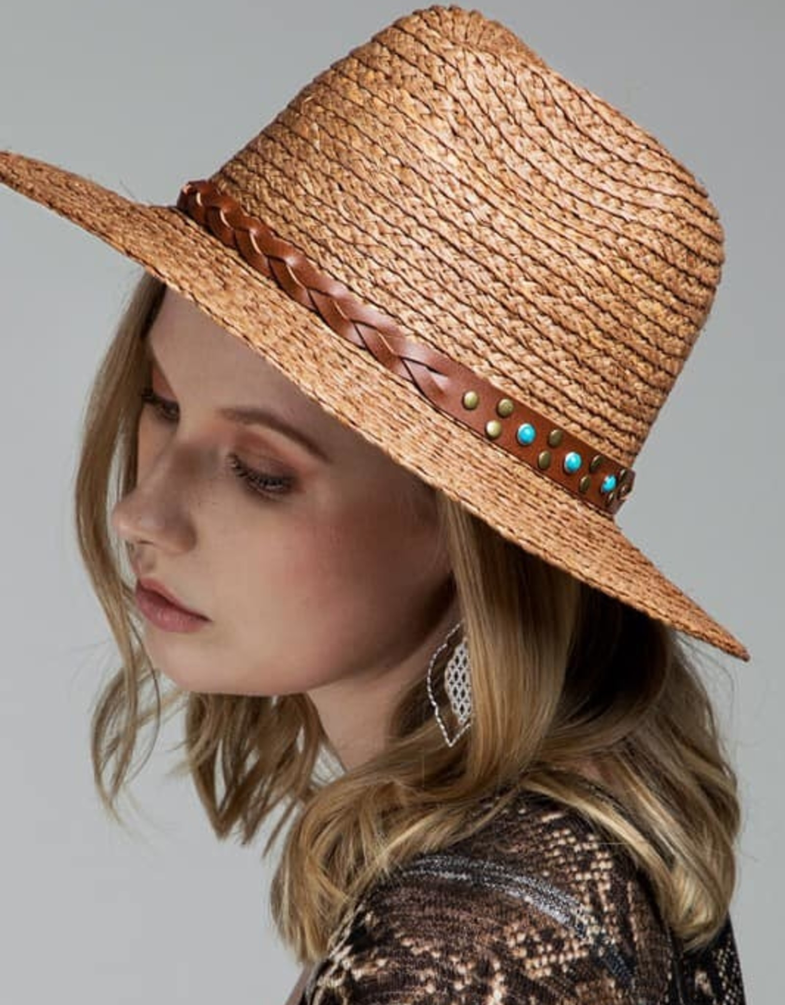 Faux Leather Braided Trim Panama Hat