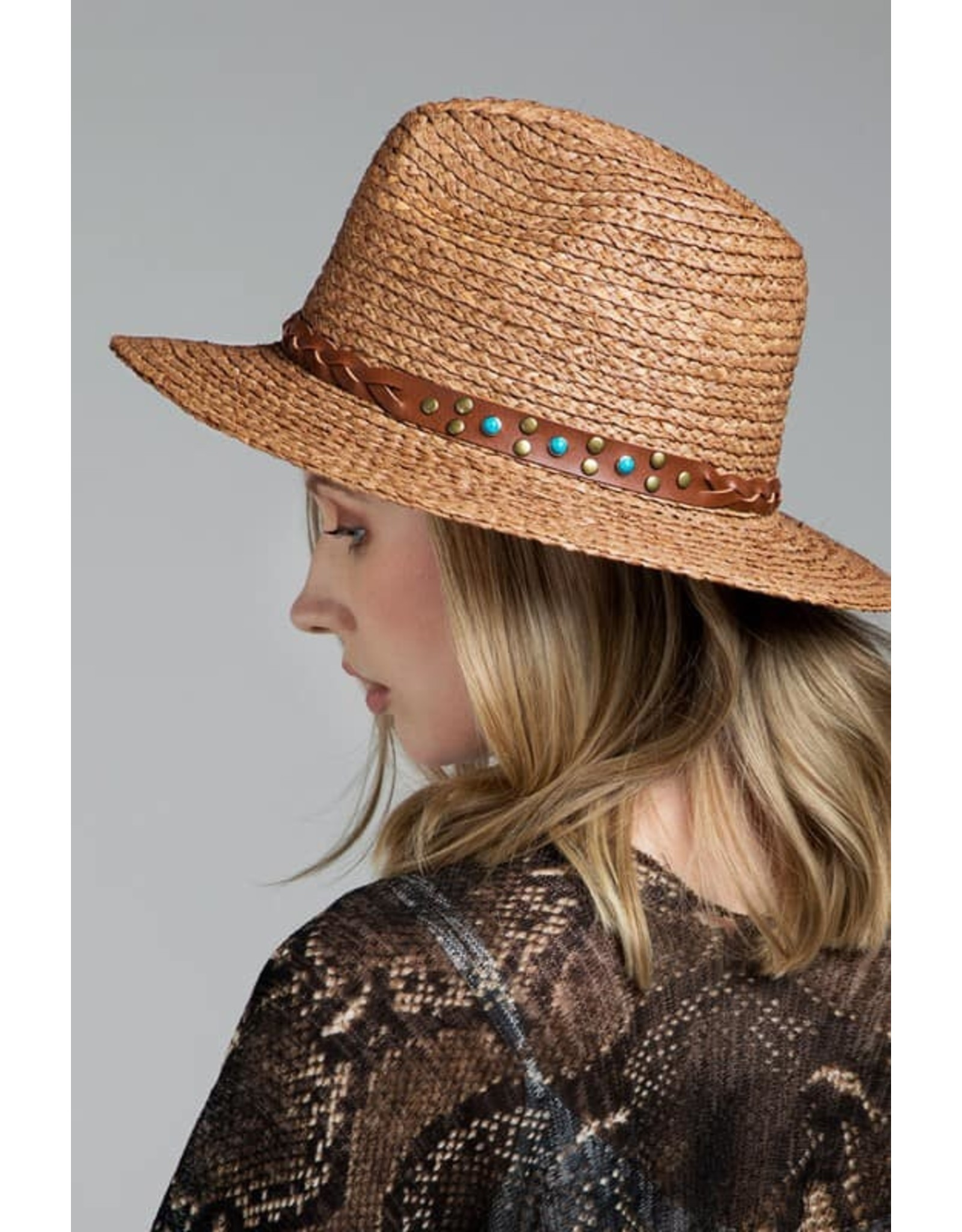 Faux Leather Braided Trim Panama Hat