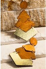 Hammered Metal Geometric Wood Earrings