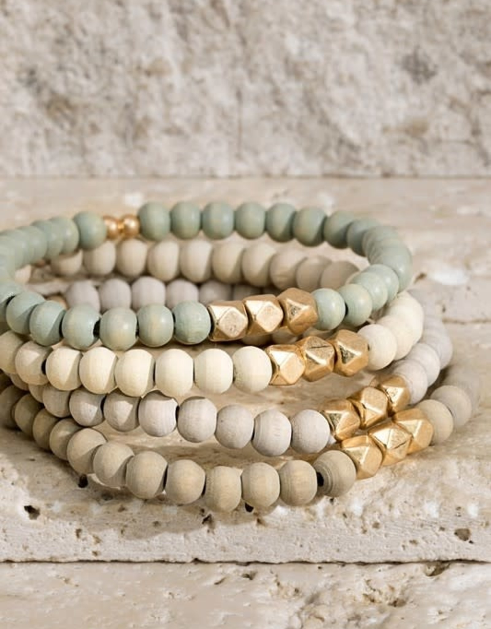 Earth Tone Wooden Bead 4 Strand Bracelet