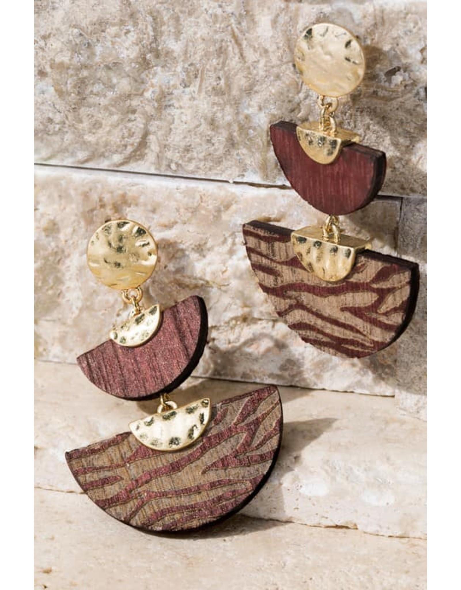 Two Semi Circle Wood Animal Print Earrings