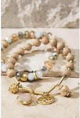 Glass Bead Natural Stone Charm Bracelet