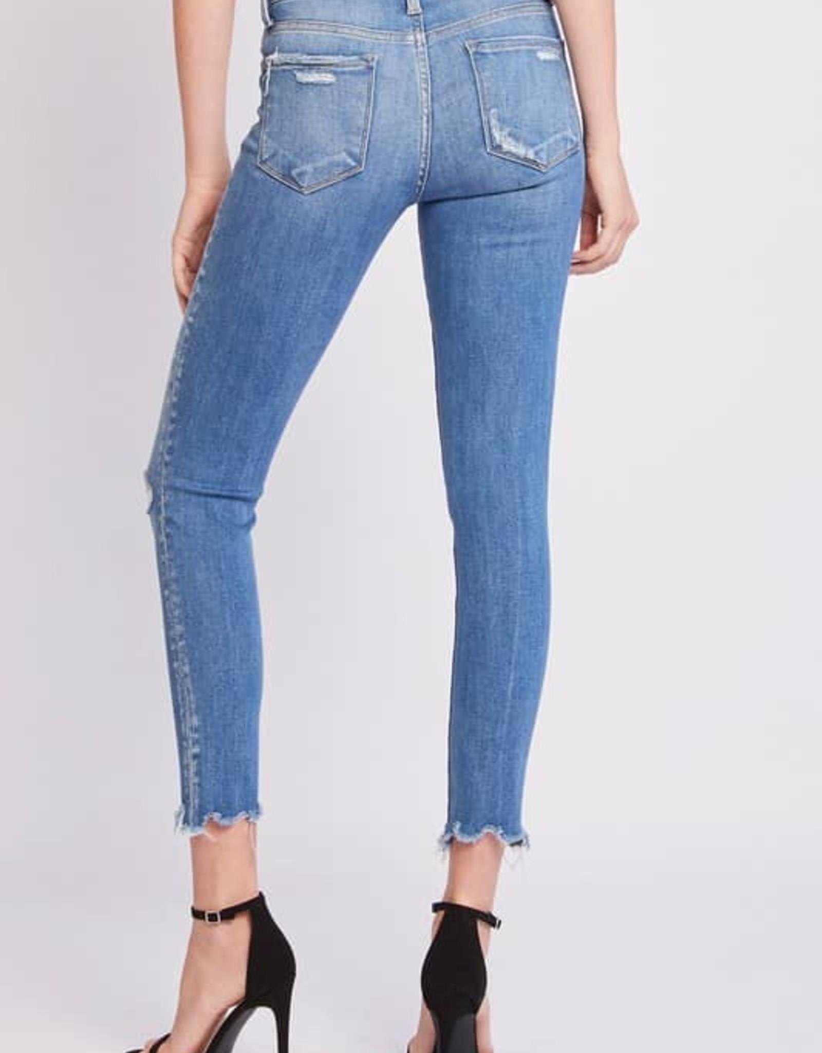 Mid-Rise Raw Hem Skinny Flying Monkey Jeans