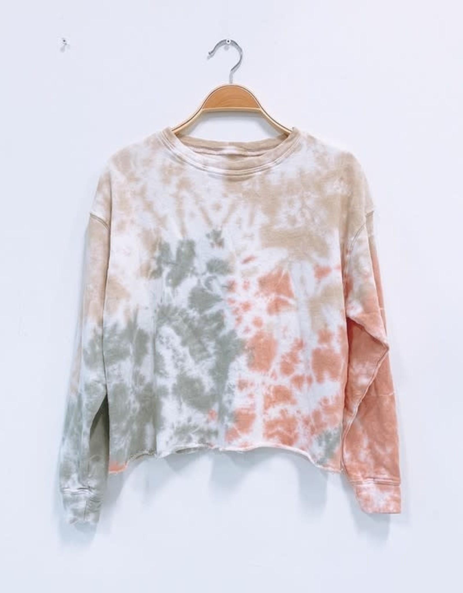 Tie Dye Raw Edge Crop Sweater