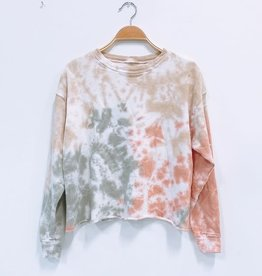 Tie Dye Raw Edge Crop Sweater