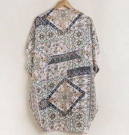 Mixed Print Open Front Kimono